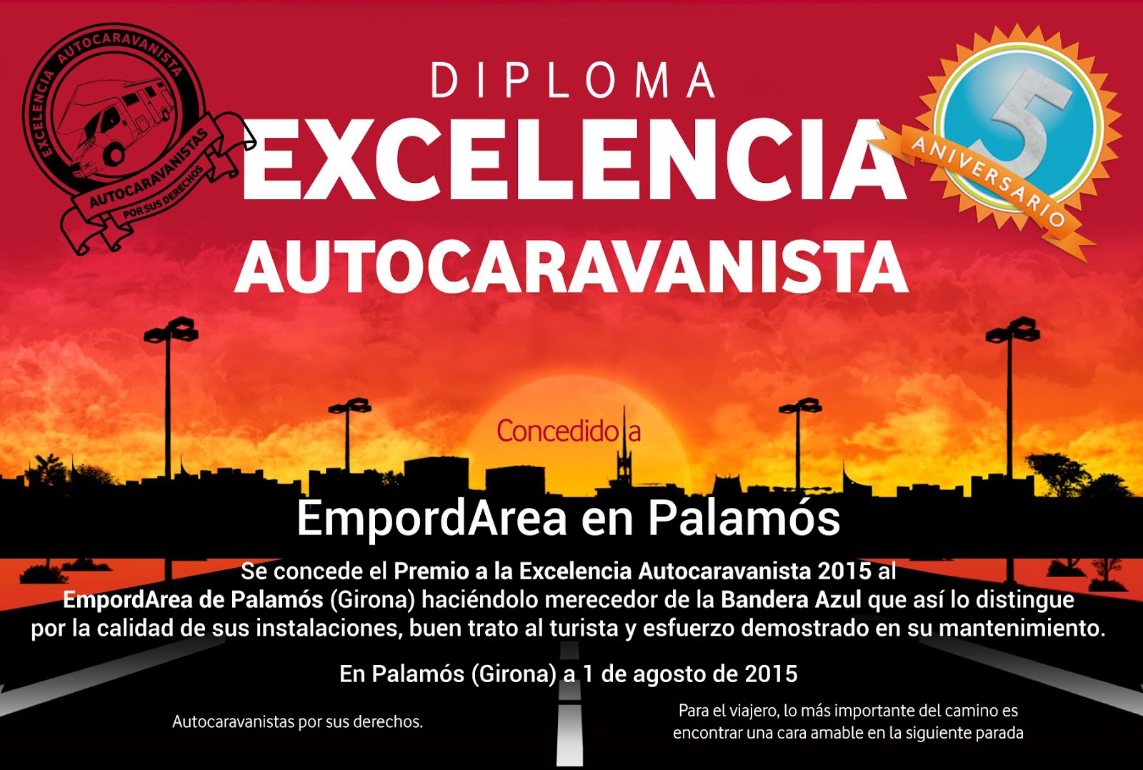 Award ''motorcaravanning Excellence 2015''